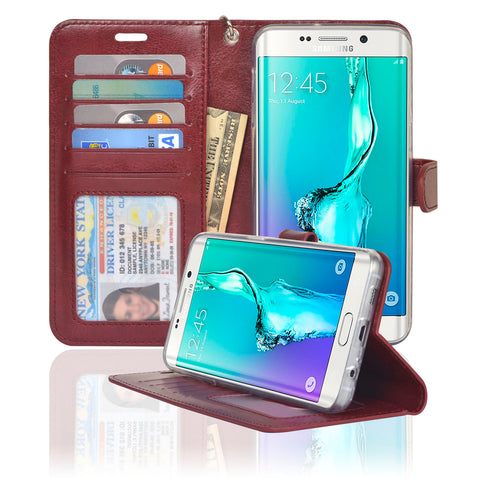 Navor Samsung Galaxy S6 Edge Plus Wallet Case - Maroon