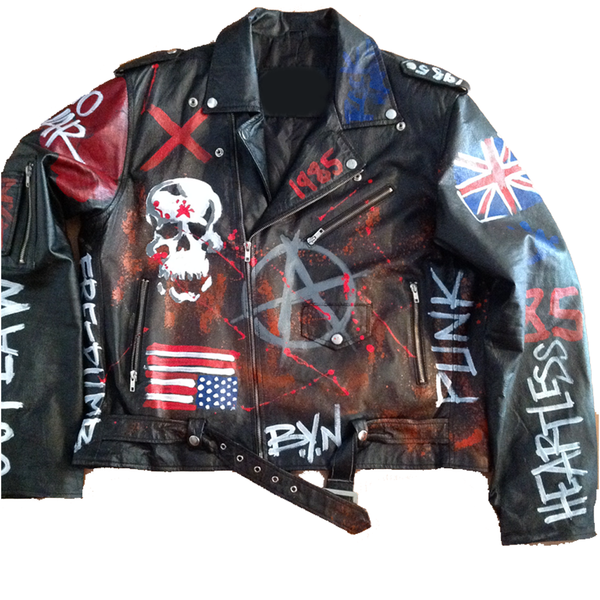 Custom Painted BYN Rock N Roll Leather Jacket - BYN Customs - 1