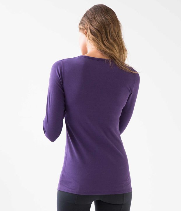 Ribbed Long Sleeve Tee, color-plum