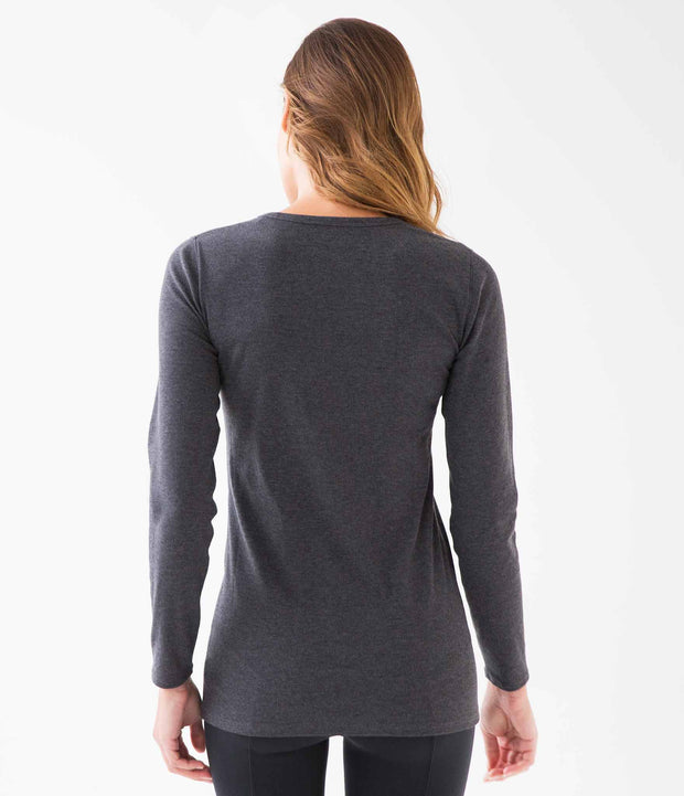 Ribbed Long Sleeve Tee, color-charcoal