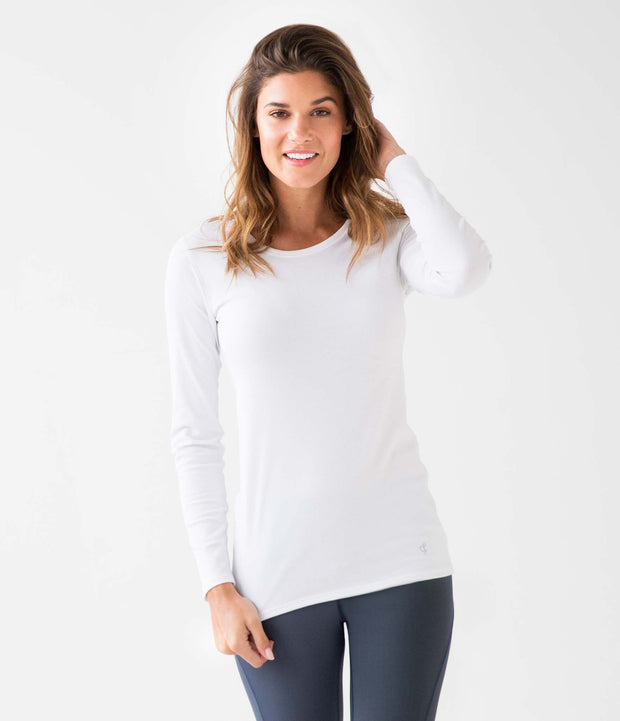 Ribbed Long Sleeve Tee, color-white