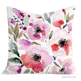 Gorgeous Red Roses floral throw pillow cover - Senay Design Studio