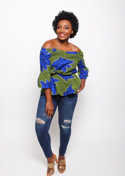 African Print Zaina Blouse - Lime - suakoko betty