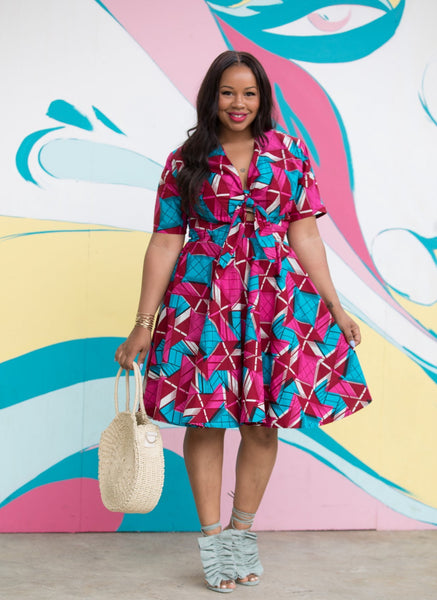 African Print Asha Tie Dress - Raspberry - suakoko betty