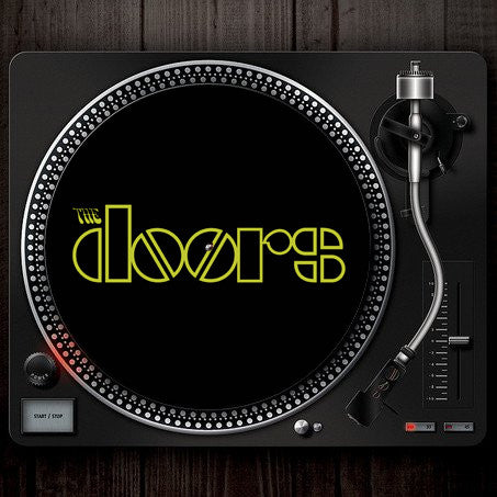 The Doors Logo Turntable Slipmat Black Green Font on turntable