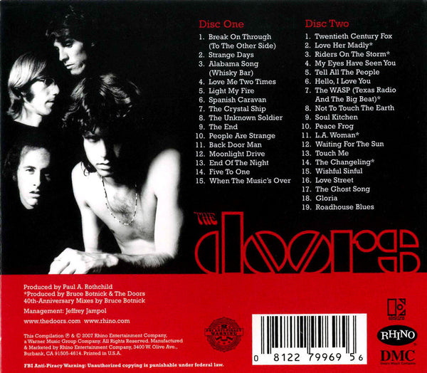 The Doors The Very Best of The Doors (w/ Bonus Tracks) [40th Anniversary - 2 CD] back