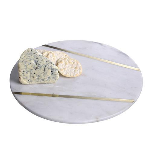 Agra White Marble Round Cheese or Serving Tray by BIDK Home