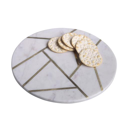 Agra White Marble Round Abstract Cheese or Serving Tray by BIDK Home
