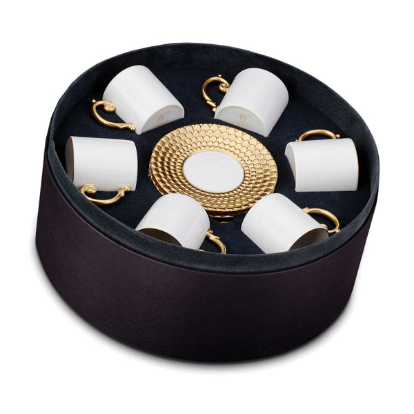 Aegean Gold Espresso Cup & Saucer, Giftboxed Set of 6 by L'Objet