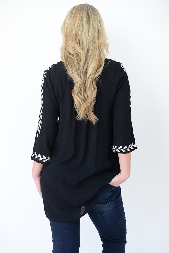 Embroidered Boho Blouse - Black