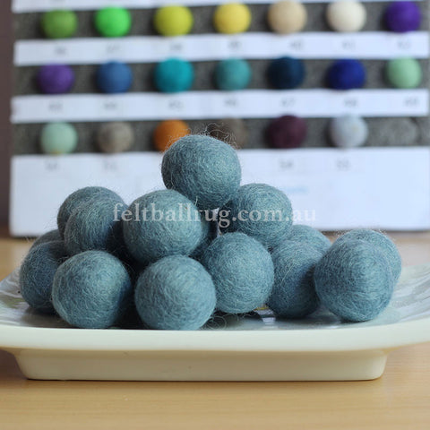 Felt Ball Baby Blue 1 CM,  2 CM, 2.5 CM, 3 CM, 4 CM Colour 35 - Felt Ball Rug Australia - 1