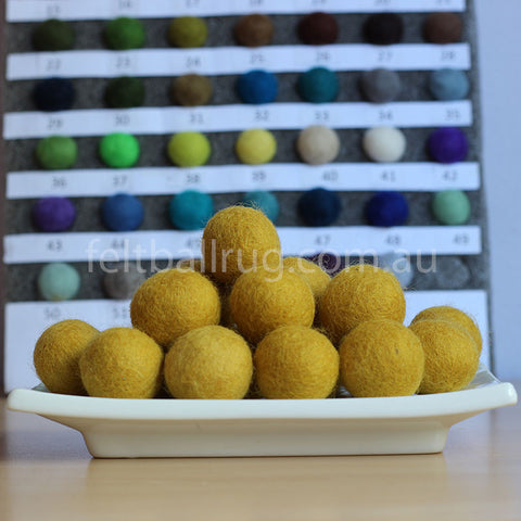 Felt Ball Mustard Yellow 1 CM,  2 CM, 2.5 CM, 3 CM, 4 CM Colour 56 - Felt Ball Rug Australia