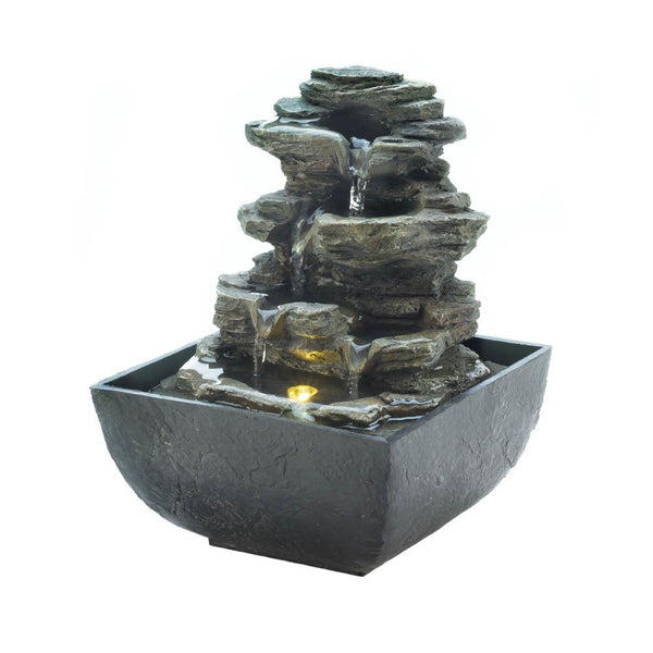 Tiered Rock Formation Table Fountain