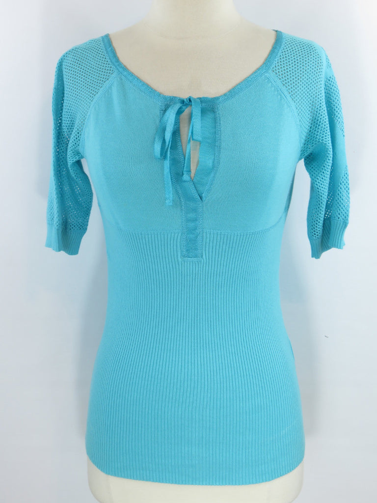 AX ARMANI EXCHANGE Women Light Blue Knit Neck Tie Short Sleeve Knit Top Shirt M