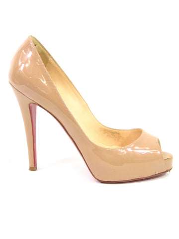 CHRISTIAN LOUBOUTIN Women Nude Patent Leather Peep Open Toe Hidden Platform Heel Pumps 36.5