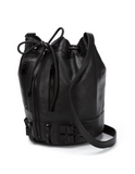 NEW! SAINT LAURENT Rider Black Bucket Bag Leather Black Hardware One Size