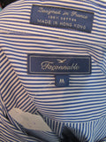 FACONNABLE Boys Blue White Stripes Button Down Long Sleeve Shirt Size M