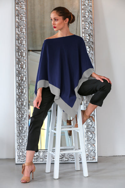Tropez Poncho Midnight Blue w/ Silver Lining Trim - Nouvelle