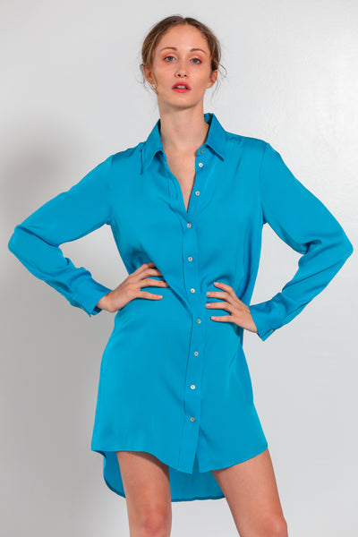 London Shirt Dress Peacock - Nouvelle