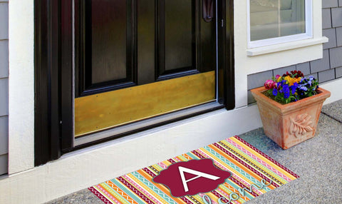 Whimsical Stripe Initial Welcome Mat