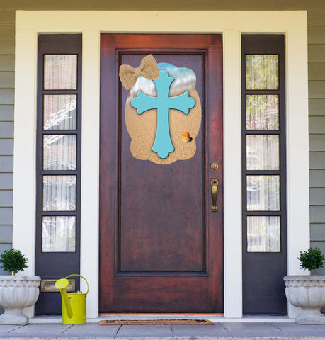 Cross On Beach Background Door Hanger
