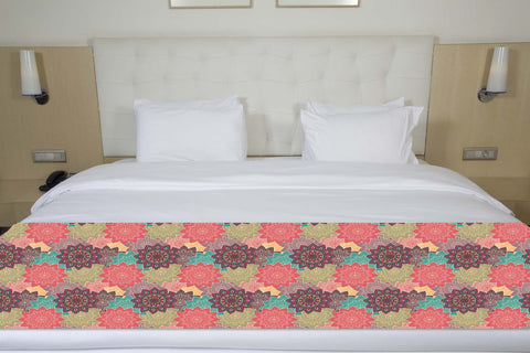 Floral Doodles Colorful Bed Runner