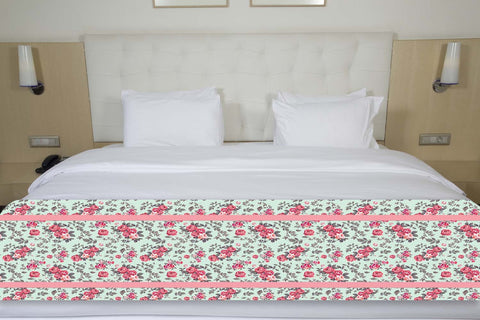 Floral Pink & Green Bed Runner