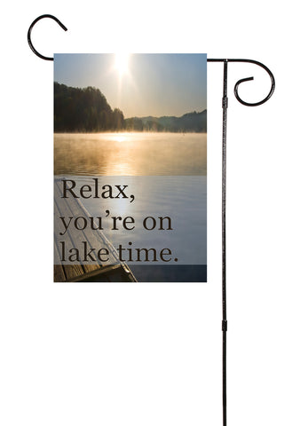 Relax, Lake Time Garden Flag