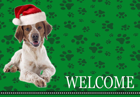 Christmas Brittany Spaniel Dog Welcome Mat