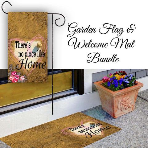 There's No Place Like Home - Floral Baseball / Softball Garden Flag & Welcome Mat Bundle