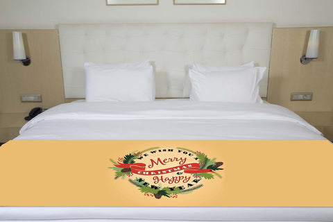 We Wish you A Merry Christmas And Happy New Year Holly and Pine Tree Bed Runner