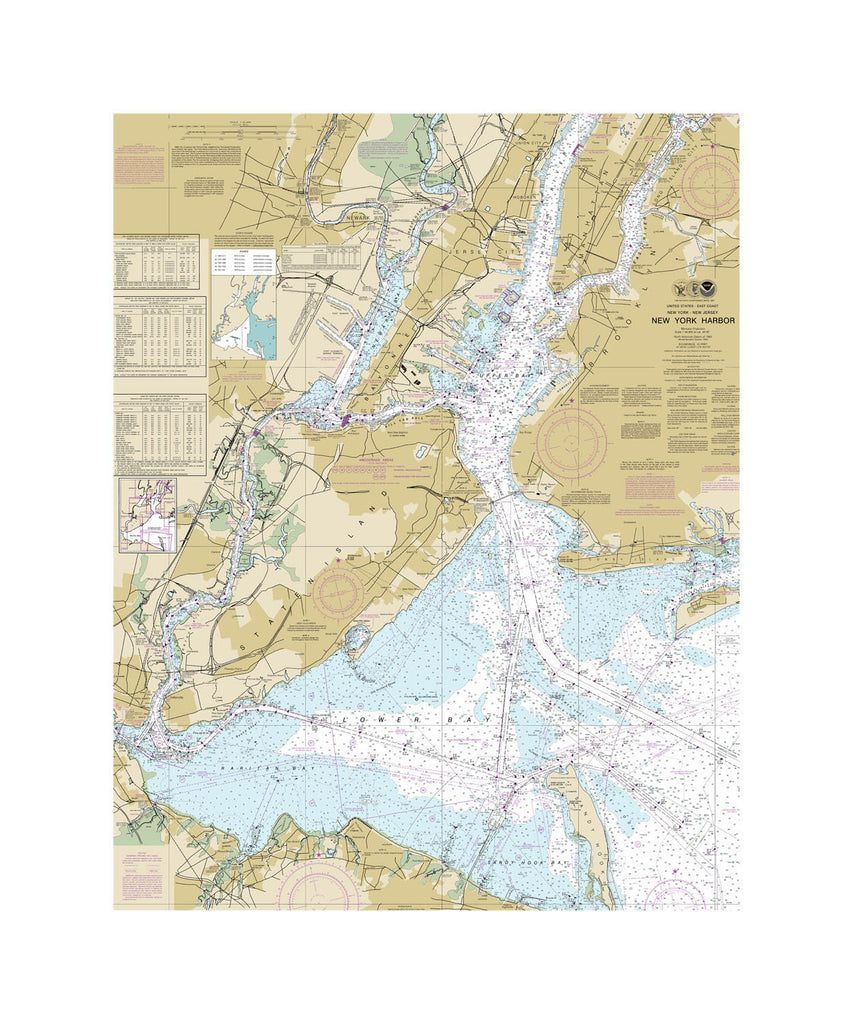 New York Harbor Nautical Chart Vinyl Print