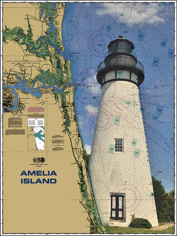 Amelia Island Lighthouse Nautical Chart Vinyl Print