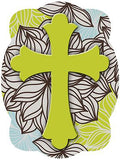 Cross On Floral Background Door Hanger