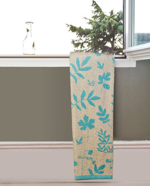 Floral cotton linen towel, made in Portugal - Shopping Blue