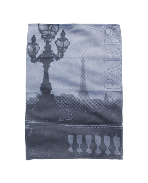 Cotton tea towel with city patterns, made in Portugal - Shopping Blue