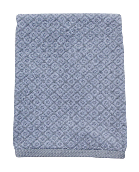 Mini diamond pattern hand and bath towel set, gray, made in Portugal - Shopping Blue