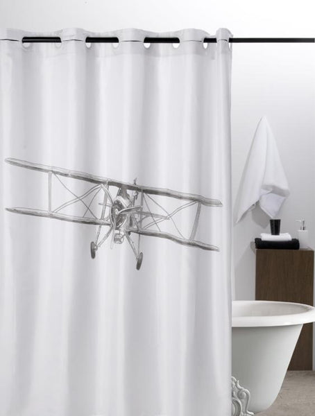 Hookless shower curtain, retro plane print, made in Spain - Shopping Blue