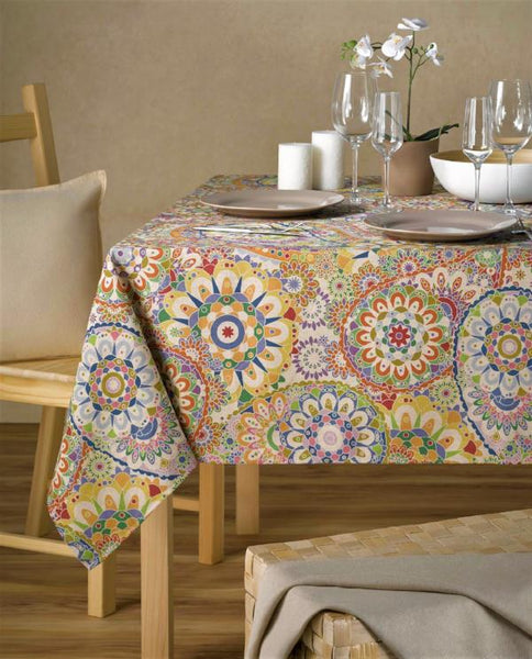 Stain repellent linen tablecloth with festive print, made in Spain - Shopping Blue