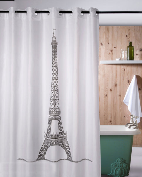 Hookless shower curtain, Eiffel tower, made in Spain - Shopping Blue