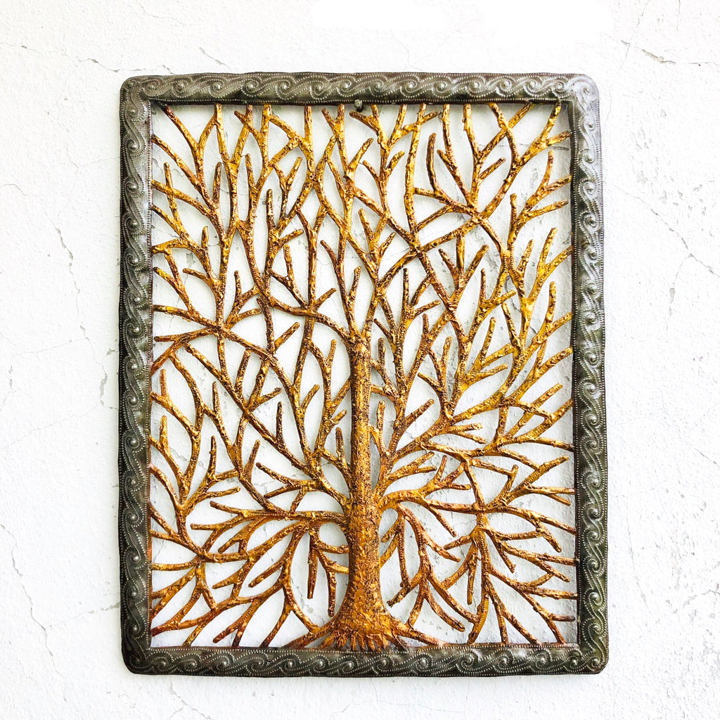Rectangle Gold/Silver Tree Statement Wall Hanging