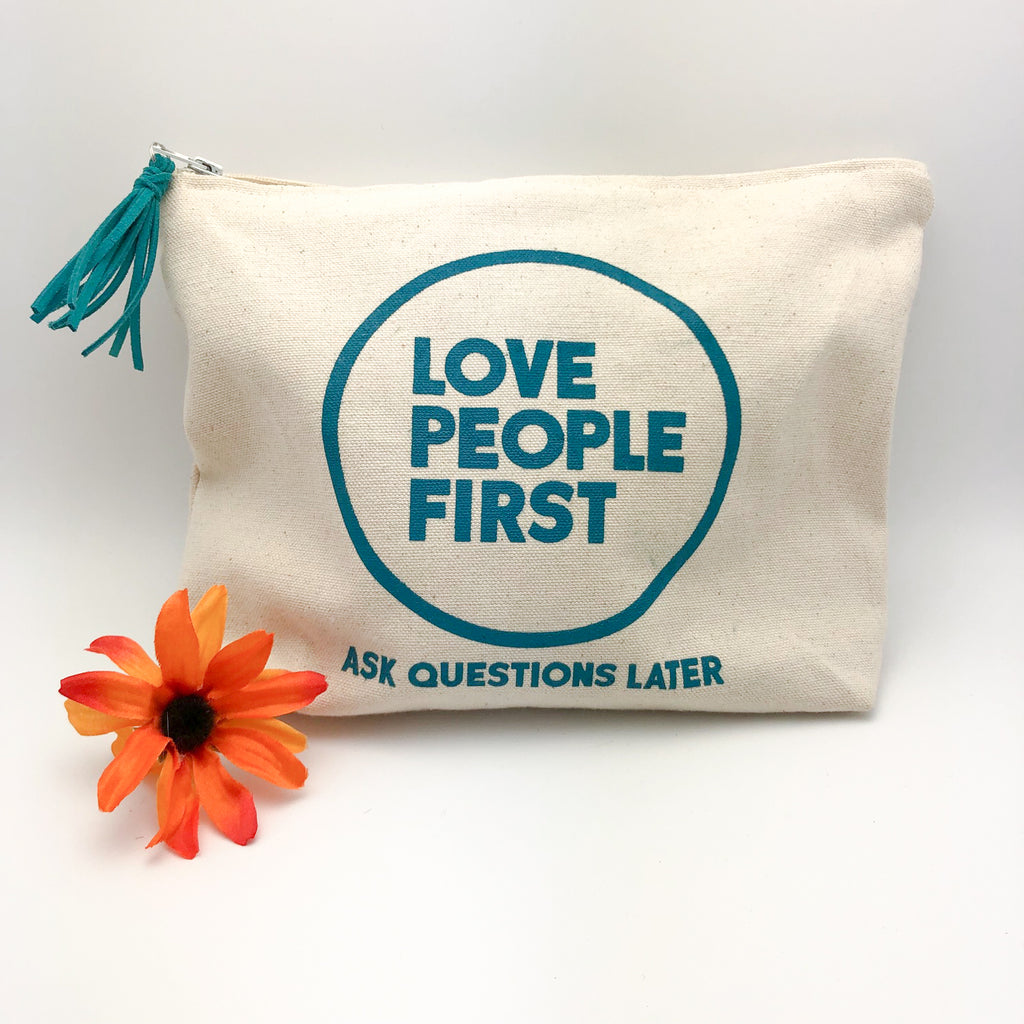 Love People First Zipper Pouch
