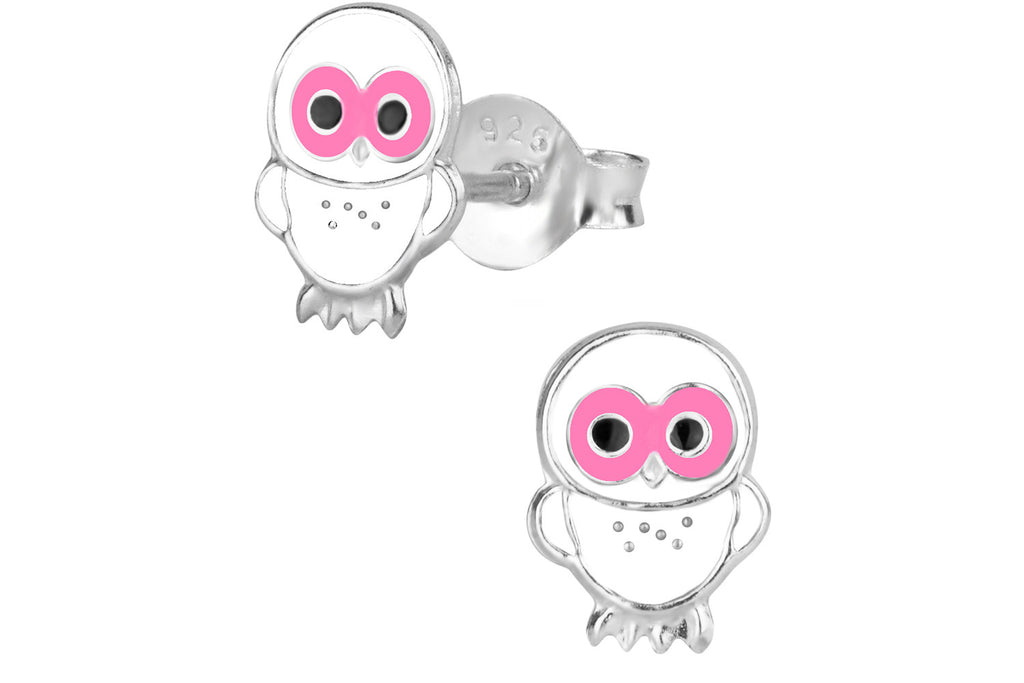 Sterling Silver White and Pink Owl Stud Earrings