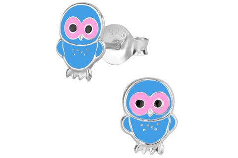 Sterling Silver Blue and Pink Owl Stud Earrings