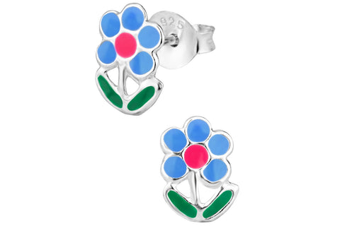 Sterling Silver Blue & Pink Daisy Flower Stud Earrings