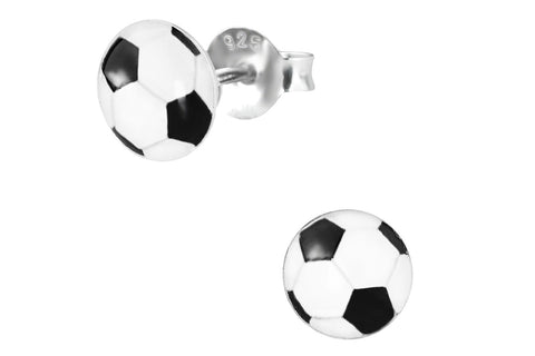 Sterling Silver Bubble Soccer Ball Stud Earrings