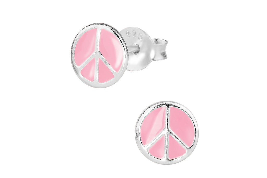 Sterling Silver Pink Peace Sign Stud Earrings