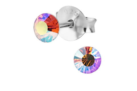 Sterling Silver Rainbow Aurora Borealis Stud Earrings