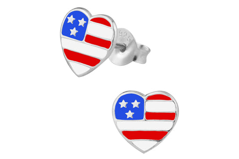 Sterling Silver American Flag Heart Earrings