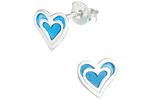 Sterling Silver Blue Double Heart Earrings